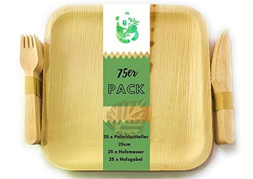 Grüner Panda 75stk Pack|25x25cm Palmblattteller, Gabeln, Messer 16cm X25| Bio Einweggeschirr Palmblattgeschirr| 100% biologisch abbaubar umweltfreundlich Einwegteller