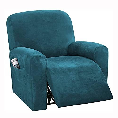 LVLUOKJ Elastisch Sessel-Überwürfe Samtstoff weich Sofabezug Antirutsch Husse für Relaxsessel (Color : Blue C, Size : One Piece Set)