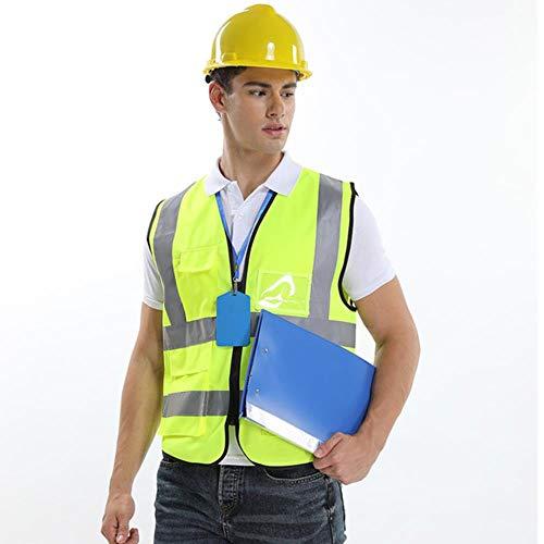 Reflecterend vest voor dames en heren, 5 zakken, hoge zichtbaarheid, met reflecterende strepen. XL Geel
