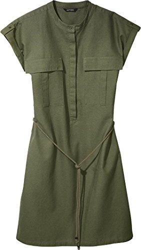 Esmara® Damen Leinenkleid, Kurzarm - Hemdblusenkleid, Sommer Kleid (Khaki grün, Gr. 42)