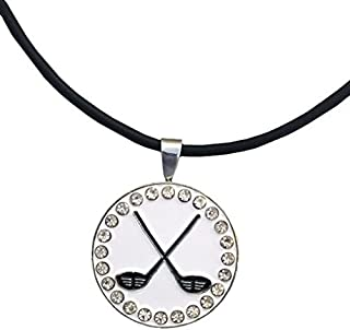 Giggle Golf Bling Crossed Clubs Magnetic Golf Ball Marker Necklace for Women