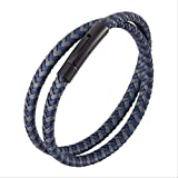 NoNo Retro Gray Blue Multilayer Braided Leather Bracelet Jewelry Stainless Steel Buckle Leather Bangles Gift Inner Perimeter165Mm Black Color Buckle