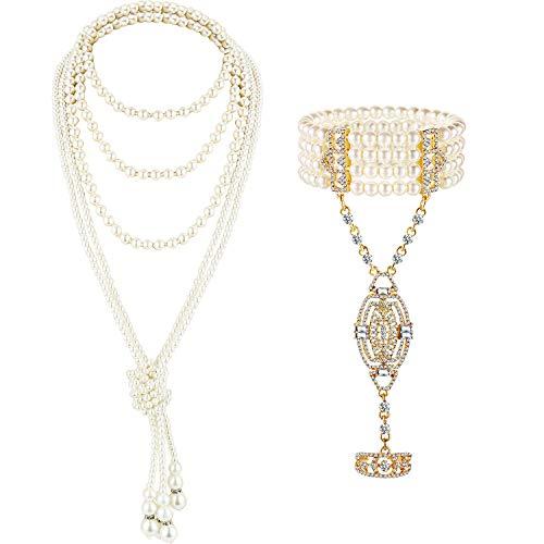 Collana di Perle Finte Anni '20 Collana di Perline Lunghe con Patta Braccialetto Accessorio per Costumi