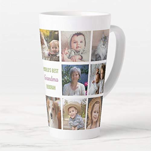 445 ml. Kubek do kawy, Worlds Best Grandma imię Instagram zdjęcie kolaż latte kubek, ceramiczny kubek podróżny latte z pokrywką i łyżeczką, filiżanka do herbaty