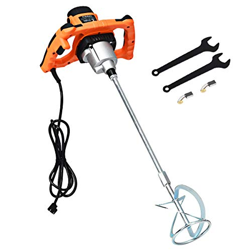 Goplus 1400W Electric Mortar Mixer Handheld Concrete Cement Plaster w/High and Low Gears,110V Adjustable Stirring Tool Paint Grout Mixer
