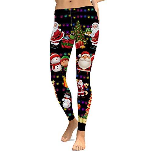Leggins Mujer Fitness Mallas Deportivo Pilates, De las mujeres polainas de Navidad de Santa Claus muñeco de nieve luces del árbol impresiones Yoga señoras de entrenamiento Correr Pantalones medias dep