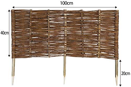 Mcsammler Weide Beeteinfassung in 16 Größen Weidenzaun Rasenkante Beetbegrenzung Steckzaun imprägniert mit Buchepflöcken für leichtes Einsetzen Länge: 100 cm Höhe: 40 cm