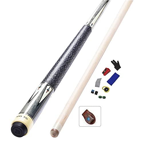 WXS Stecca da Biliardo per Adulti Maple 147cm 19 Once, 1/2 Stecche da Biliardo Divisa, Stecca da Biliardo Stecca Singola,Adatto per Nove Palle Americane(Size:Tips13mm,Color:Cue A+Accessori)