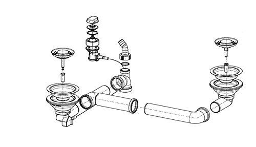 Ab- und Überlaufgarnitur für die FRANKE Einbauspüle CALYPSO COG 651-E / Ersatzteil Spüle / Ablaufgarnitur