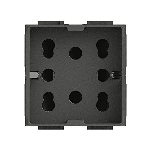 4Box 4B.L.H21, Side, Presa da Incasso Multistandard 1 Schuko + 2 Bipasso, Compatibile con Bticino Livinglight, 250 V, Antracite, Grigio