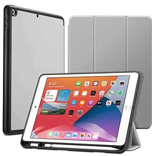 ESR Hülle für iPad 10.2 mit Stifthalter, für iPad 8.Generation 2020/iPad 7.Generation 2019, mit Pencil Halter [Trifold Ansichtsständer] [Auto Schlaf-/Weckabdeckung] Rebo& Series-Grau