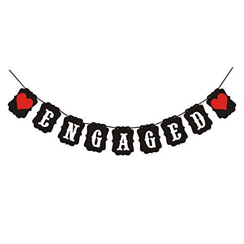 Outflower Engagés Banderole rustique fête Drapeau Décoration pour l'intérêt Red-heart