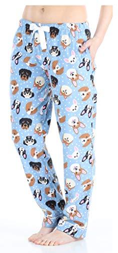 PajamaMania Flanell Pyjamahose für Damen, Blaue Hunde (PMF1001-2077-EU-LRG)