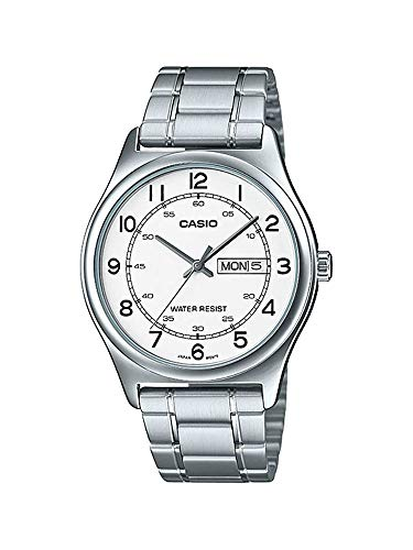 Casio MTP-V006D-7B2 Men's Stainless Steel Easy Reader White Dial Day Date Analog Dress Watch