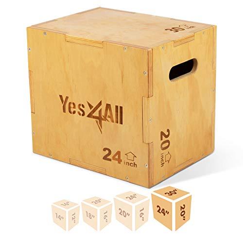 Yes4All Wood Plyo Box/Wooden Plyo Box for Exercise, Crossfit Training, MMA, Plyometric Agility – 3 in 1 Plyo Box/Plyo Jump Box (30/24/20)