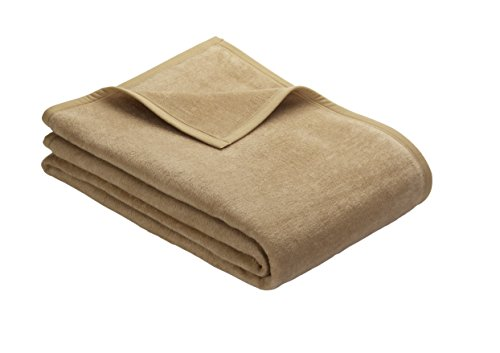 Ibena Porto Kuscheldecke 180x220 cm - Wolldecke camel einfarbig, pflegeleichte Baumwollmischung, kuschelig weich und angenehm warm