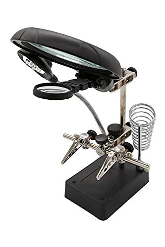 拡大鏡 ルーペ スタンド 10倍 7.5倍 2.5倍 LED ライト付き 卓上 虫眼鏡