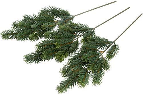 Floratexx künstlicher Tannenzweig (Weihnachtszweig) im Spritzgussverfahren hergestellt (3 Stück)