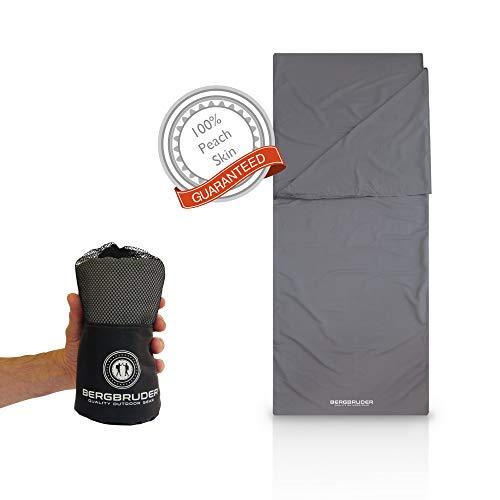 BERGBRUDER Mikrofaser Hüttenschlafsack - 2in1 Schlafsack Inlett Inlay kompakt mit umlaufendem Reißverschluss - Reiseschlafsack Sommer dünn & leicht (Grau, 215x85 cm)