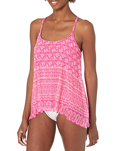 Coco Reef Women's Standard Tankini Top Swimsuit with Mesh Layer Detail, Bohemia Cerese, 32C
