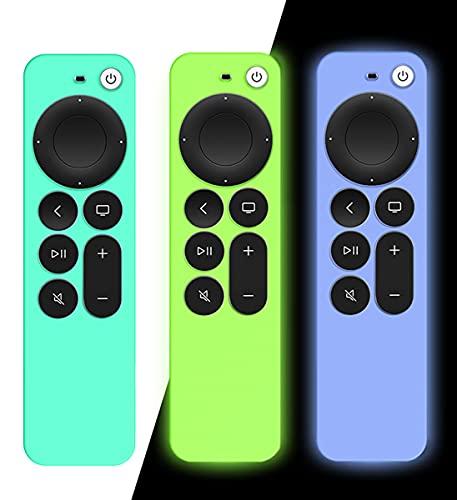 AIYAAIYA 3 PCS Funda de Silicona para Control Remoto Apple TV 4K 2021, Funda Protectora a Prueba de Golpes para mando a distancia Siri 6nd Gen con Cuerda Antipérdida (Glow Azul+Glow Verde+Verde Hielo)