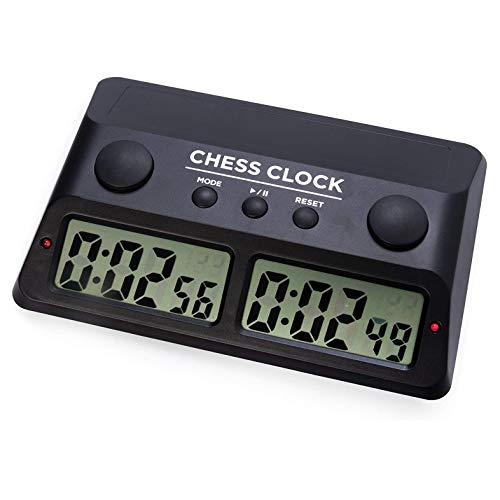 Cuasting Reloj de ajedrez digital temporizador de ajedrez para profesionales, para, Shogi, Go y otros juegos de mesa competitivos, negro