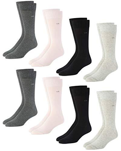 Calvin Klein Men's Socks - Cotton Blend Lightweight Mid-Calf Crew Socks (8 Pack), Size Shoe Size: 7-12, Multi