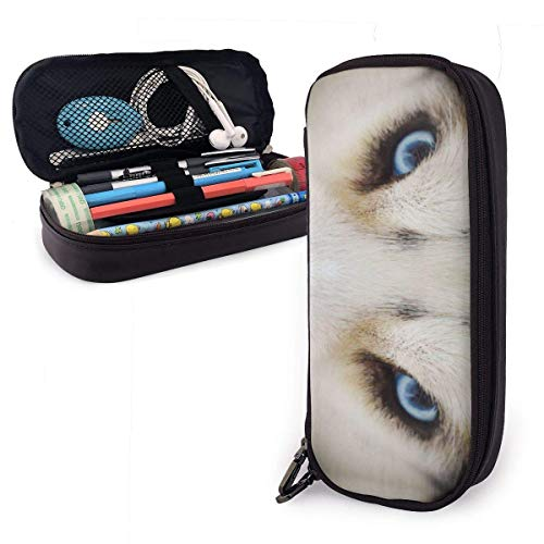 Pencil Case Pen Bag Husky Dogs Opened The Sky Blue Eyes Pattern Pencil Case, Large Capacity Pen Case Pencil Bag Stationery Pouch Pencil Holder Pouch with Big Compartments