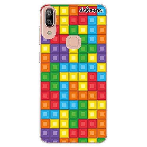 dakanna Funda Compatible con [Bq Vsmart Active 1 Plus] de Silicona Flexible, Dibujo Diseño [Bloques de Juego Multicolor], Color [Borde Transparente] Carcasa Case Cover de Gel TPU para Smartphone