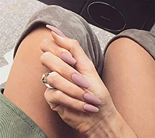 YienDoo False Nails Gray Pink Frosted Square Head Long French Nails Full Cover Nail Tips Fake Nails for Women and Girls 24Pcs