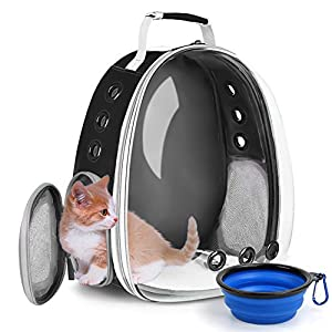 SSAWcasa Cat Backpack Carrier,Bubble Clear Pet Carrier Backpack,Dog Travel Carrier for Small Dogs,Portable Pet Carry Bag for Puppy Rabbit Bird,Airline Approved Carrying Backpack for Outdoor