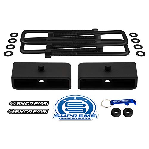 "Supreme Suspensions - Rear Leveling Kit for 2005-2020 Toyota Tacoma 1.5"" Rear Suspension Lift Blocks + Square Bend U-Bolts 2WD 4WD"