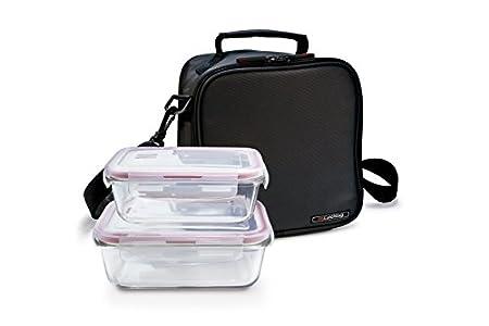 IRIS Basic Bolsa Porta Alimentos con 2 Contenedores, Tela, Negro, 21x13.5x22 cm