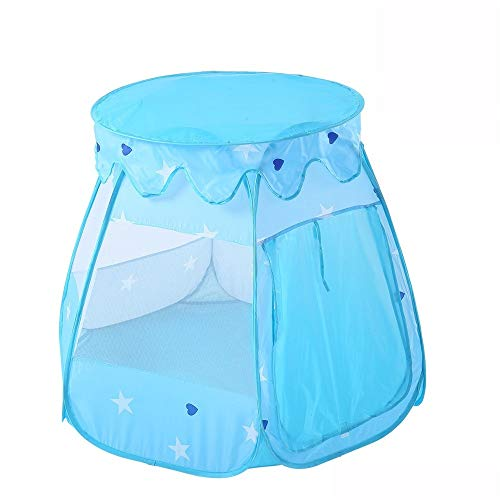 Kids Teepee Play Toy House Children Tent Foldable Play House Tent Blue Mesh Breathable Tent With Handbag Boy Girl Toddler Indoor and Outdoor Children's Toys ( Color : Blue , Size : 110x110x82cm )