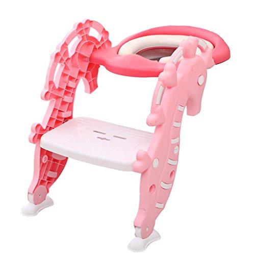 YFF-baby peuter wc stoel Potty Trainer anti-slip wc Trainer kinderen Potty kinderen wc stoel jongen meisje vouwen trap wc stoel lading 75kg Geschikt voor 1-7 jaar oud roze