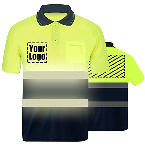 High Visibility Reflective Safety T-Shirt Custom Your Logo Protective Short Sleeve Hi Vis Polo Shirt Outdoor Workwear (Neon Yellow (S))