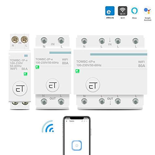 Interruttori automatici Din Rail WIFI Interruttore Smart Switch Controllo vocale remoto tramite APP Ewelink per Smart Home TOMZN timer mcb 110 V 220 V 380 V-2P_40A