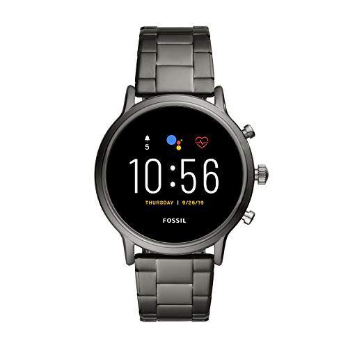 Fossil Unisex 44MM Gen 5 Carlyle HR Heart Rate Stainless Steel Touchscreen Smart Watch, Color: Smoke (Model: FTW4024)