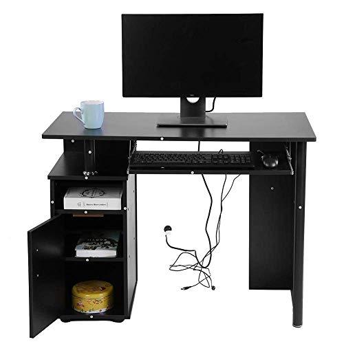 Escritorio para computadora, hierro Escritorio para computadora portátil Mesa para computadora Escritorio de estudio para escritura con bandeja para teclado y estantes para armarios Muebles de esquina