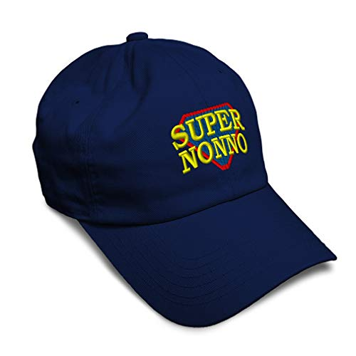 Speedy Pros Soft Baseball Cap Super Nonno Italian Embroidery Typography & Symbols Letters Twill Cotton Dad Hats for Men Women Buckle Closure Navy Design Only