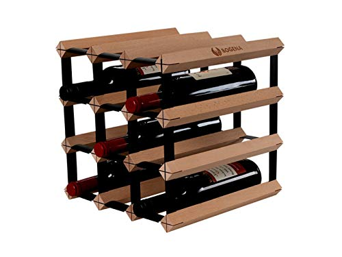 BOGENA Weinregal aus Holz - im einzigartigen Design - in 3 Varianten erhältlich - stabil, langlebig & modern - Elegantes Flaschenregal für Ihre heimische Weinsammlung (12 Flaschen)