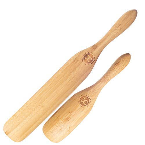 Crate Collective – The Original Bamboo Spurtle Set – 2 Piece Bamboo Spurtle Set (Stirring Spatula/Spoon) – 9' Spurtle, 13' Spurtle – Kitchen Utensils and Accessories - Wooden Cooking Spoons