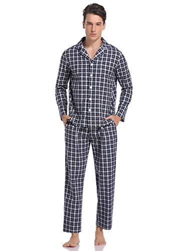 Herren Schlafanzug Pyjama Set lang mit Bündchen Zweiteiliger aus Baumwolle Kariert Nachtwäsche Set mit Freizeithose und Schlafanzugoberteile