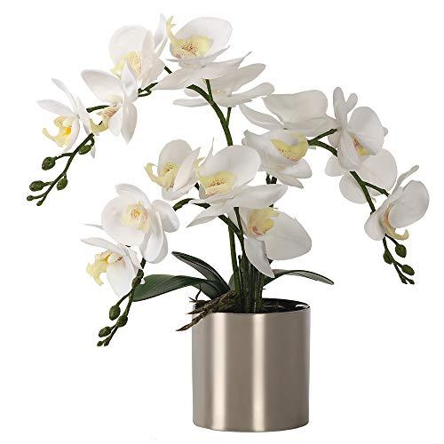 LESING Artificial Orchid Flower with Vase, White Orchid Bonsai Faux Orchid Phalaenopsis Plant Pot Arrangements for Home Decoration (White,Silver Vase)