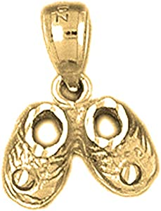 14K Amarillo Oro Bebé Botines, zapatos colgante–16mm