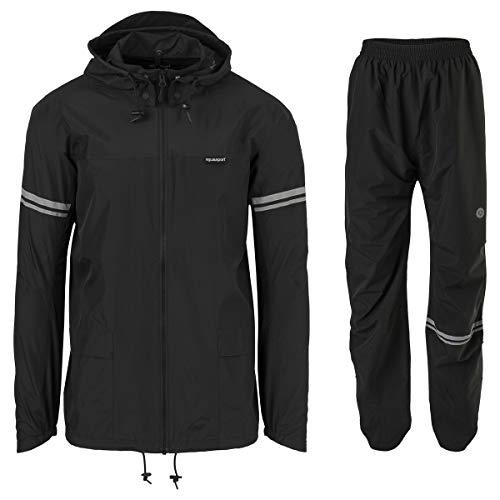 AGU Essential Original Regenanzug, Regenkleidung Fahrrad Herren & Damen, Wasserdicht & Winddicht, Reflektierend, 100% Recyceltes Polyester, Unisex - L - Schwarz