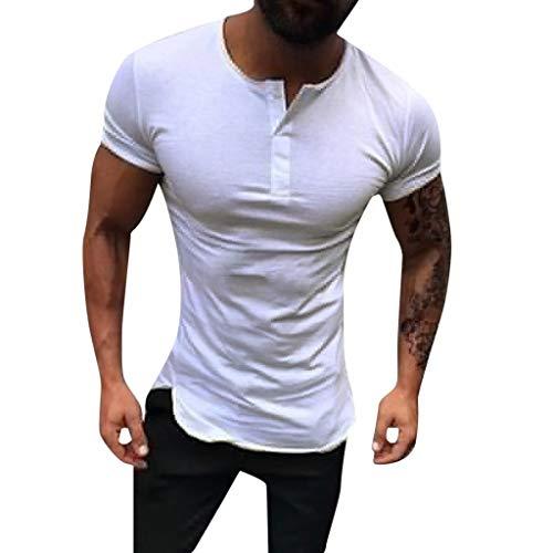 YanHoo Moda de Hombre de Manga Corta Henry Painting Camisas Blusas de Gran tamaño y Estilo Casual