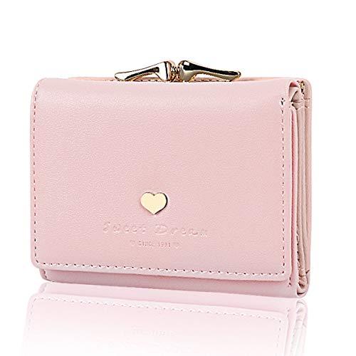 JORYEE Geldbörse Damen - Geldbeutel Damen Leder Brieftasche, Portmonee Damen Leder Elegant Süß Handtasche Portemonnaie Geldbeutel für Frauen (Rosa)