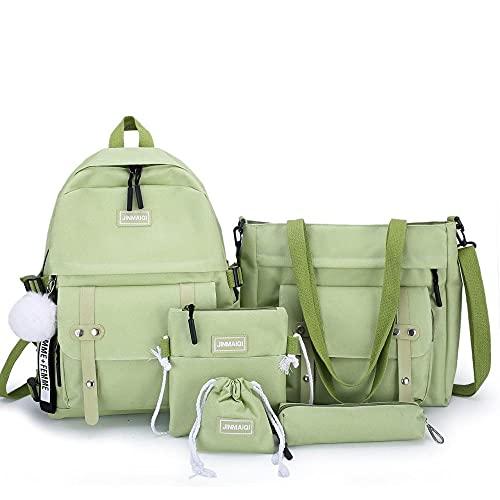 Conjunto de mochilas escolares de lona para niñas adolescentes de 5 piezas, mochilas para niñas y mujeres, llaveros para portátiles, mochilas escolares, mochila de viaje, verde