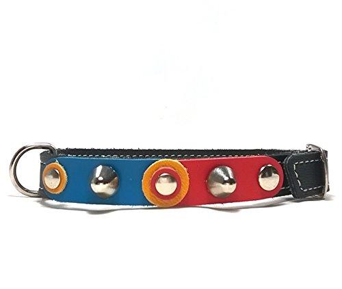 Superpipapo Hunde-Halsband, Handmade Schwarz Leder für Welpen, Chihuahuas und Kleine Hunde, Design FC Barça Barcelona Azul-Grana Blau-Karmin mit Nieten, 30 cm XXS: Halsumfang 20-25 cm, Breit 13mm